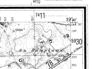 Reduced fragment of topographic map de--mb--025k--25_083--(1940)--N053-30_E019-30--N053-24_E019-40