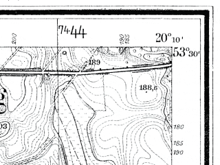 Reduced fragment of topographic map de--mb--025k--25_086--(1933)--N053-30_E020-00--N053-24_E020-10