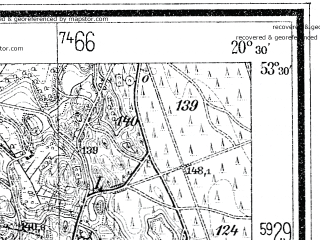 Reduced fragment of topographic map de--mb--025k--25_088--(1938)--N053-30_E020-20--N053-24_E020-30