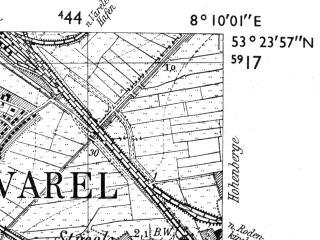 Reduced fragment of topographic map de--mb--025k--26_014-ams--(1955)--N053-24_E008-00--N053-18_E008-10; towns and cities Varel, Bockhorn