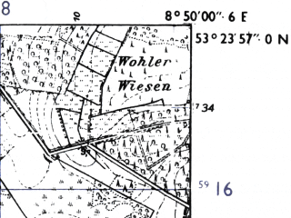 Reduced fragment of topographic map de--mb--025k--26_018-ams--(1955)--N053-24_E008-40--N053-18_E008-50