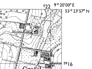 Reduced fragment of topographic map de--mb--025k--26_021-ams--(1955)--N053-24_E009-10--N053-18_E009-20; towns and cities Zeven