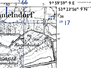 Reduced fragment of topographic map de--mb--025k--26_025-ams--(1955)--N053-24_E009-50--N053-18_E010-00; towns and cities Buchholz