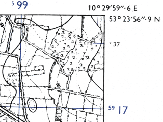 Reduced fragment of topographic map de--mb--025k--26_028-ams--(1955)--N053-24_E010-20--N053-18_E010-30