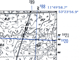 Reduced fragment of topographic map de--mb--025k--26_036-ams--(1952)--N053-24_E011-40--N053-18_E011-50
