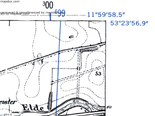 Reduced fragment of topographic map de--mb--025k--26_037-ams--(1952)--N053-24_E011-50--N053-18_E012-00