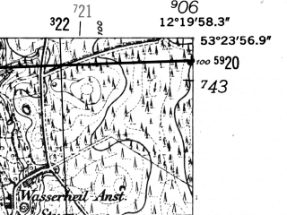 Reduced fragment of topographic map de--mb--025k--26_039-ams--(1952)--N053-24_E012-10--N053-18_E012-20