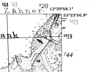 Reduced fragment of topographic map de--mb--025k--26_041-ams--(1952)--N053-24_E012-30--N053-18_E012-40