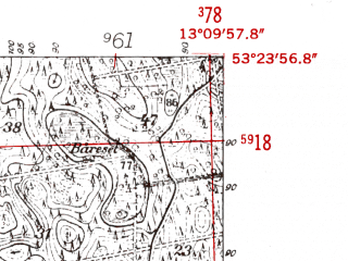 Reduced fragment of topographic map de--mb--025k--26_044-ams--(1952)--N053-24_E013-00--N053-18_E013-10 in area of Zierker See; towns and cities Neustrelitz