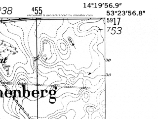 Reduced fragment of topographic map de--mb--025k--26_051-ams--(1952)--N053-24_E014-10--N053-18_E014-20
