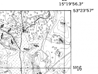 Reduced fragment of topographic map de--mb--025k--26_057-ams--(1952)--N053-24_E015-10--N053-18_E015-20