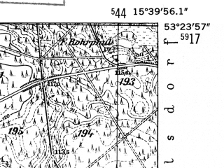 Reduced fragment of topographic map de--mb--025k--26_059-ams--(1952)--N053-24_E015-30--N053-18_E015-40