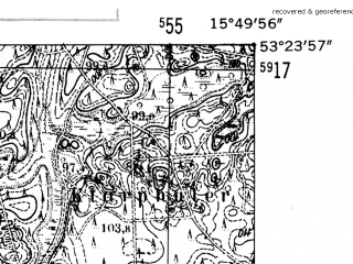 Reduced fragment of topographic map de--mb--025k--26_060-ams--(1952)--N053-24_E015-40--N053-18_E015-50