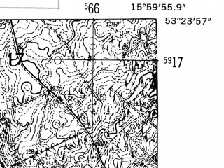 Reduced fragment of topographic map de--mb--025k--26_061-ams--(1952)--N053-24_E015-50--N053-18_E016-00