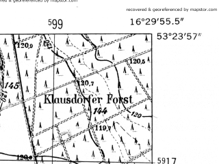 Reduced fragment of topographic map de--mb--025k--26_064-ams--(1952)--N053-24_E016-20--N053-18_E016-30
