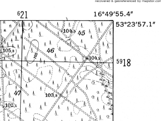 Reduced fragment of topographic map de--mb--025k--26_066-ams--(1952)--N053-24_E016-40--N053-18_E016-50