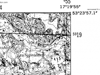 Reduced fragment of topographic map de--mb--025k--26_069-ams--(1952)--N053-24_E017-10--N053-18_E017-20