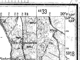 Reduced fragment of topographic map de--mb--025k--26_085--(1944)--N053-24_E019-50--N053-18_E020-00