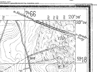 Reduced fragment of topographic map de--mb--025k--26_088--(1940)--N053-24_E020-20--N053-18_E020-30; towns and cities Nidzica