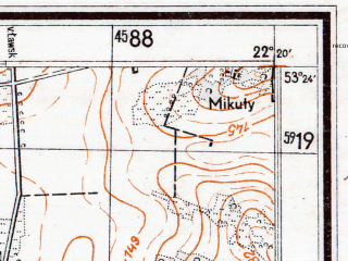 Reduced fragment of topographic map de--mb--025k--26_099--(1944)--N053-24_E022-10--N053-18_E022-20