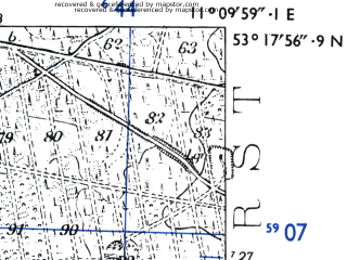 Reduced fragment of topographic map de--mb--025k--27_032-ams--(1955)--N053-18_E011-00--N053-12_E011-10