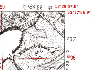 Reduced fragment of topographic map de--mb--025k--27_046-ams--(1952)--N053-18_E013-20--N053-12_E013-30