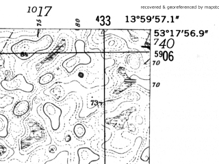 Reduced fragment of topographic map de--mb--025k--27_049-ams--(1952)--N053-18_E013-50--N053-12_E014-00