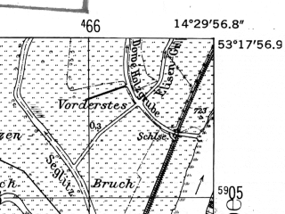 Reduced fragment of topographic map de--mb--025k--27_052-ams--(1952)--N053-18_E014-20--N053-12_E014-30; towns and cities Gryfino