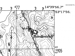 Reduced fragment of topographic map de--mb--025k--27_053-ams--(1952)--N053-18_E014-30--N053-12_E014-40