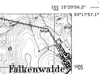 Reduced fragment of topographic map de--mb--025k--27_058-ams--(1952)--N053-18_E015-20--N053-12_E015-30