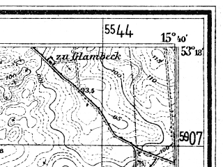 Reduced fragment of topographic map de--mb--025k--27_059--(1935)--N053-18_E015-30--N053-12_E015-40