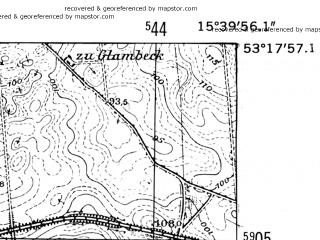 Reduced fragment of topographic map de--mb--025k--27_059-ams--(1952)--N053-18_E015-30--N053-12_E015-40