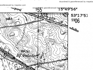 Reduced fragment of topographic map de--mb--025k--27_060-ams--(1952)--N053-18_E015-40--N053-12_E015-50