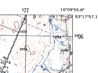 Reduced fragment of topographic map de--mb--025k--27_062-ams--(1952)--N053-18_E016-00--N053-12_E016-10
