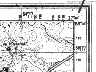 Reduced fragment of topographic map de--mb--025k--27_071--(1944)--N053-18_E017-30--N053-12_E017-40