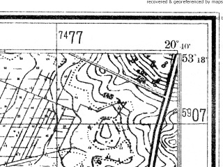 Reduced fragment of topographic map de--mb--025k--27_089--(1941)--N053-18_E020-30--N053-12_E020-40