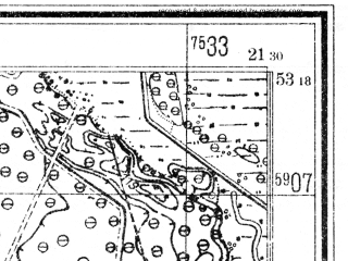 Reduced fragment of topographic map de--mb--025k--27_094--(1940)--N053-18_E021-20--N053-12_E021-30; towns and cities Kadzidlo