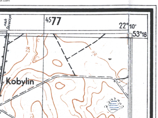 Reduced fragment of topographic map de--mb--025k--27_098--(1944)--N053-18_E022-00--N053-12_E022-10