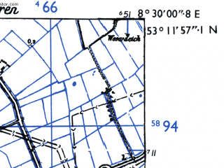 Reduced fragment of topographic map de--mb--025k--28_016-ams--(1955)--N053-12_E008-20--N053-06_E008-30