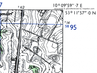 Reduced fragment of topographic map de--mb--025k--28_026-ams--(1955)--N053-12_E010-00--N053-06_E010-10