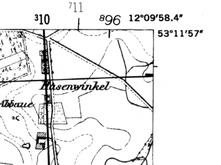 Reduced fragment of topographic map de--mb--025k--28_038-ams--(1952)--N053-12_E012-00--N053-06_E012-10