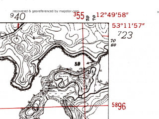 Reduced fragment of topographic map de--mb--025k--28_042-ams--(1952)--N053-12_E012-40--N053-06_E012-50