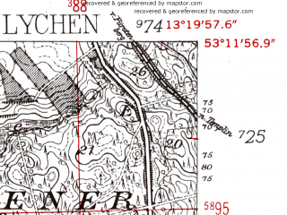 Reduced fragment of topographic map de--mb--025k--28_045-ams--(1952)--N053-12_E013-10--N053-06_E013-20