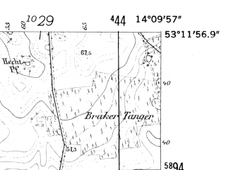 Reduced fragment of topographic map de--mb--025k--28_050-ams--(1952)--N053-12_E014-00--N053-06_E014-10