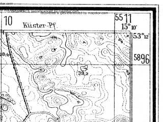 Reduced fragment of topographic map de--mb--025k--28_056--(1934)--N053-12_E015-00--N053-06_E015-10