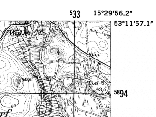 Reduced fragment of topographic map de--mb--025k--28_058-ams--(1952)--N053-12_E015-20--N053-06_E015-30; towns and cities Choszczno