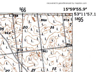 Reduced fragment of topographic map de--mb--025k--28_061-ams--(1952)--N053-12_E015-50--N053-06_E016-00