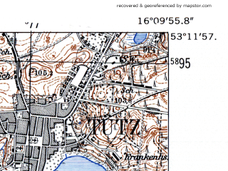 Reduced fragment of topographic map de--mb--025k--28_062-ams--(1952)--N053-12_E016-00--N053-06_E016-10; towns and cities Tuczno