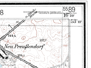 Reduced fragment of topographic map de--mb--025k--28_063--(1937)--N053-12_E016-10--N053-06_E016-20