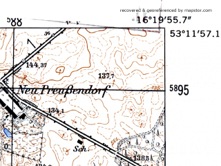 Reduced fragment of topographic map de--mb--025k--28_063-ams--(1952)--N053-12_E016-10--N053-06_E016-20
